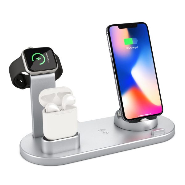 Wireless Charger Dock 4 in1 Multiple Device Fast Charging Station with Watch charger Cable Free